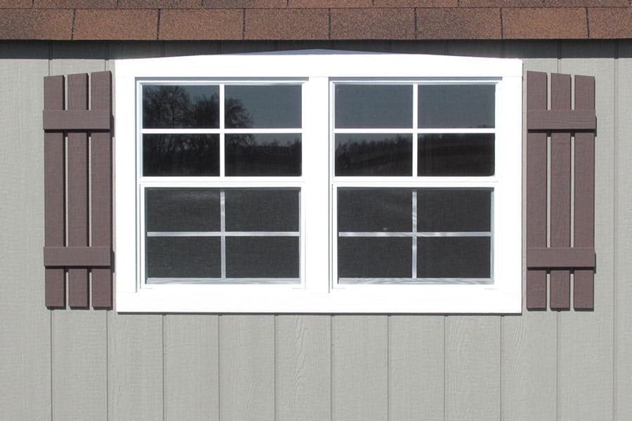 double window on a storage shed