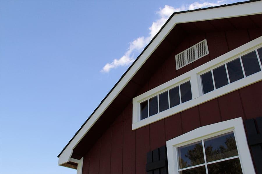 storage shed with a transom window